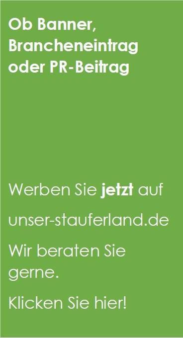 """Banner grün """"Werben sie unser-stauferland"""